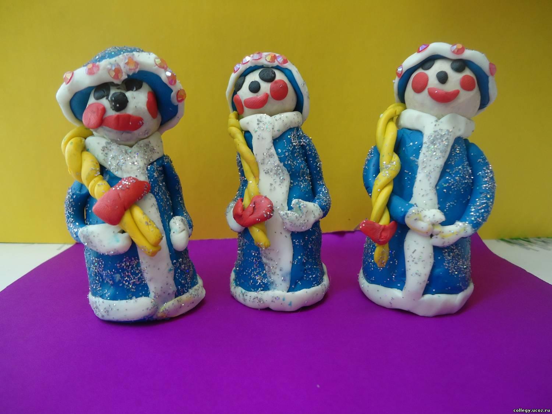 Как сделать снегурочку из пластилина